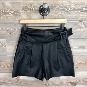 Zara Black Belted Faux Leather Shorts